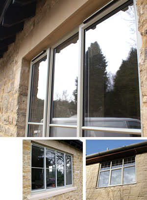 Aluminium windows, one with trickle vent and one with astragal bars