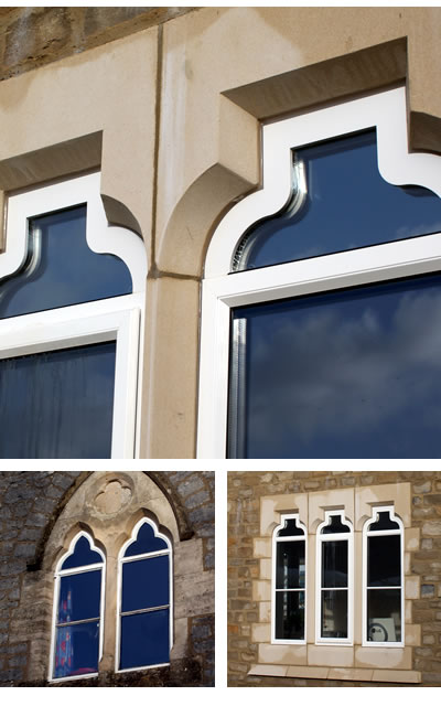 Arched aluminium stone mullion windows